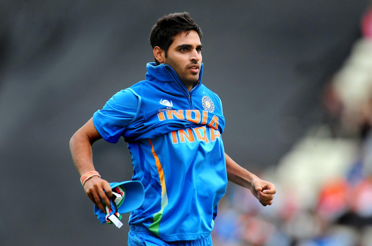India's Bhuvneshwar Kumar during the ICC Champions Trophy match at Edgbaston, Birmingham. PRESS ASSOCIATION Photo. Picture date: Saturday June 15, 2013. See PA story CRICKET India. Photo credit should read: Rui Vieira/PA Wire. RESTRICTIONS: Use subject to restrictions. Editorial use only. No commercial use. Call 44 (0)1158 447447 for further information.