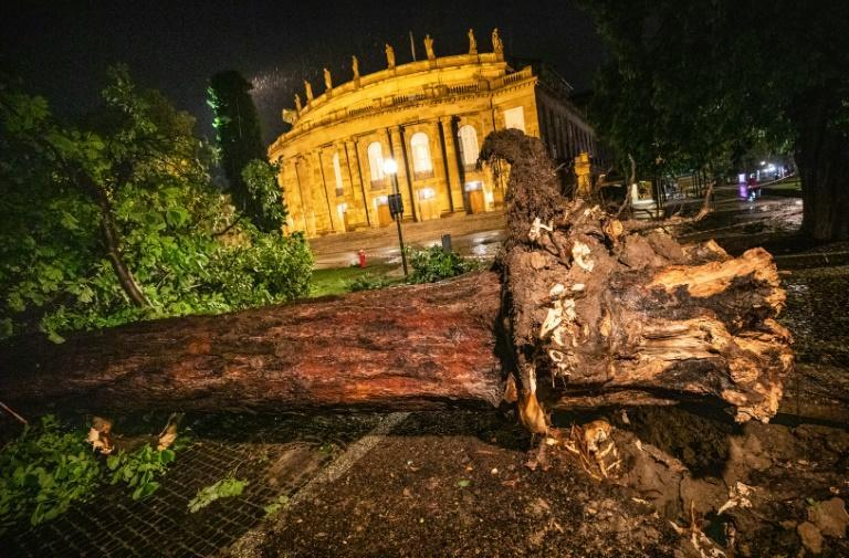 Brutal summer storms tore off part of the roof at the opera house in Stuttgart, southern Germany