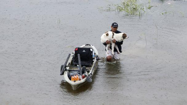 PHOTO: A man holding his dog walks in water in greater Houston area of Texas, Aug. 27, 2017.  (Song Qiong/Xinhua/Newscom)