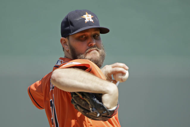 Houston Astros starting pitcher Wade Miley throws during the first inning of a baseball game against the Kansas City Royals, Sunday, Sept. 15, 2019, in Kansas City, Mo. (AP Photo/Charlie Riedel)