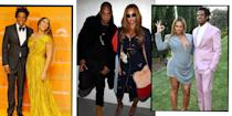 """<p><a href=""""https://www.elle.com/uk/fashion/celebrity-style/articles/g16631/beyonce-s-style-file/"""" rel=""""nofollow noopener"""" target=""""_blank"""" data-ylk=""""slk:Beyoncé"""" class=""""link rapid-noclick-resp"""">Beyoncé</a> and Jay-Z are one of the <a href=""""https://www.elle.com/uk/life-and-culture/g21049635/the-longest-celebrity-marriages-relationships/"""" rel=""""nofollow noopener"""" target=""""_blank"""" data-ylk=""""slk:longest-standing,"""" class=""""link rapid-noclick-resp"""">longest-standing,</a> most frequently-collaborating, big money-making, pop culture-influencing and fascinating celebrity couples around (although Jay-Z has before explained how he really<a href=""""https://www.youtube.com/watch?v=pzPtlmzwajA"""" rel=""""nofollow noopener"""" target=""""_blank"""" data-ylk=""""slk:doesn't think of themselves as a celebrity couple"""" class=""""link rapid-noclick-resp""""> doesn't think of themselves as a celebrity couple</a>: 'We're a couple who just happen to be celebrities').</p><p>First linked in the early noughties when Beyoncé embarked on her solo career,<a href=""""https://www.elle.com/uk/fashion/a35645769/kelly-rowland-interview/"""" rel=""""nofollow noopener"""" target=""""_blank"""" data-ylk=""""slk:post Destiny's Child,"""" class=""""link rapid-noclick-resp""""> post Destiny's Child,</a> teaming up with the Brooklyn rapper for debut single 'Crazy In Love' and joining Jay-Z on his single '03 Bonnie And Clyde', the couple have kept their relationship particularly private while simultaneously working and performing together. </p><p>In fact, both artists so rarely open up about their personal lives that the only time we do hear about, or have reason to speculate, on their relationship and marriage is through their music.</p><p>Occasionally venturing out into public for awards shows, Met Galas and basketball games, the couple married in 2008 at a small ceremony in their New York City apartment (reportedly welcoming only 40 guests), and had their first child together, Blue Ivy, in 2013, later welcoming twins Sir and Rumi in 2017. </p><p> Here are our fa"""