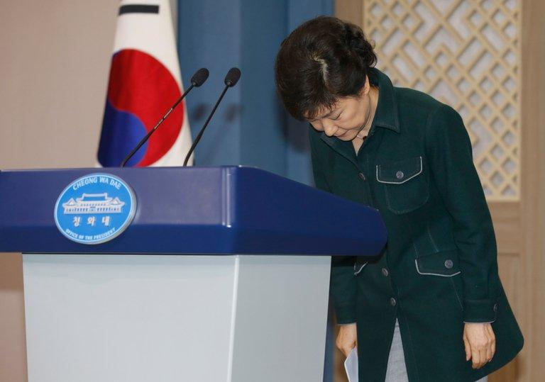 South Korea's President Park Geun-Hye bows after a live television address in Seoul on March 4, 2013