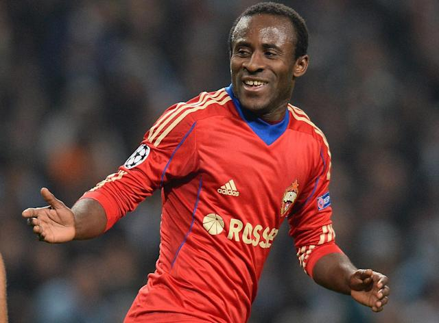 CSKA Moscow's Ivorian forward Seydou Doumbia celebrates during the UEFA Champions League group D football match between Manchester City and CSKA Moscow at The City of Manchester stadium in Manchester, north-west England on November 5, 2013 (AFP Photo/Andrew Yates)