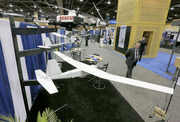 Unmanned Aircraft Systems are displayed Tuesday, March 12, 2013 at the Border Security Expo in Phoenix. More than 180 companies are exhibiting their security products despite automatic spending cuts that are affecting every federal government agency due to the government sequestration. (AP Photo/Matt York)