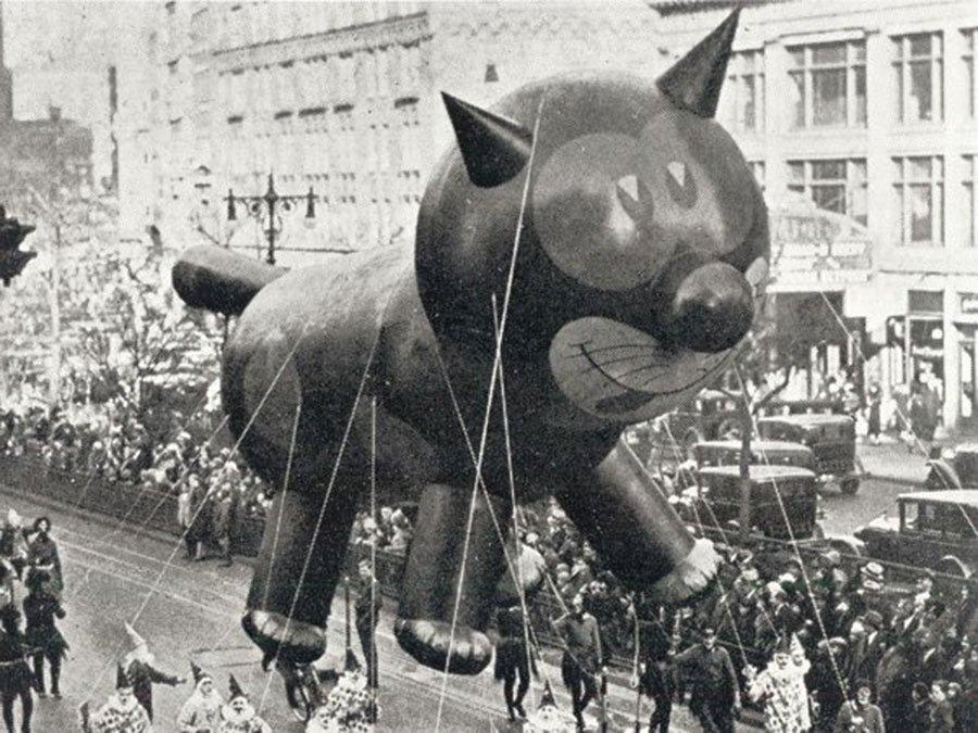It's Felix the Cat! He hit some telephone wires and caught fire, which necessitated his removal from the parade.