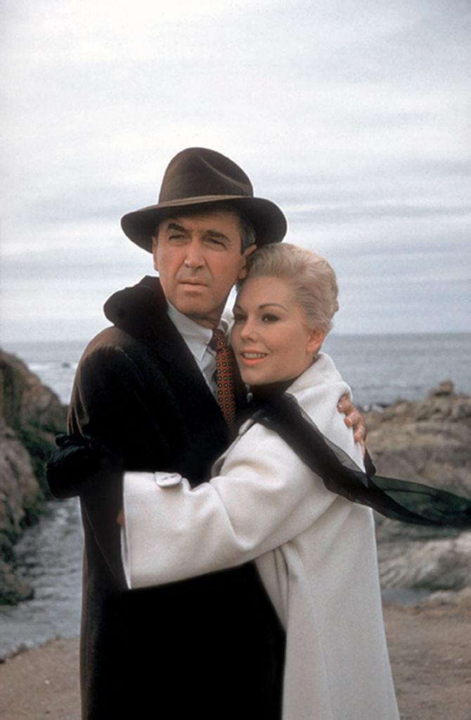 Jimmy Stewart and Kim Novak film Alfred Hitchcock's 1958 movie