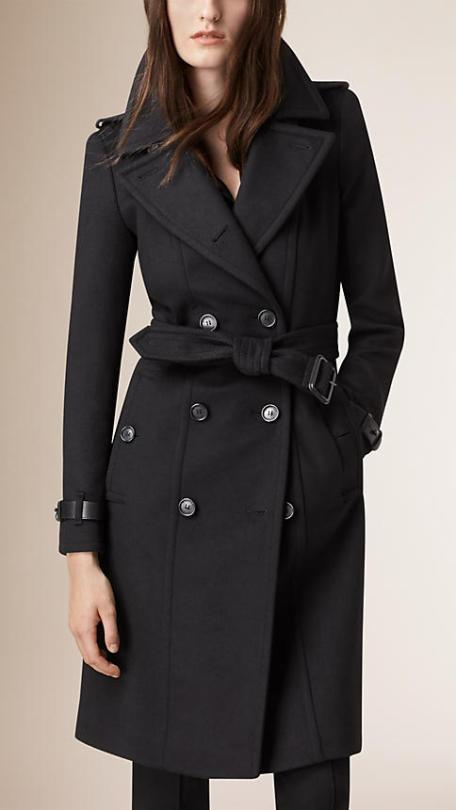 """Find a statement coat: """"For an all-over extra layer, go for a calf-length wool coat. Bonus points if you get one in a bold colour to set you apart amid a sea of dreary winter blacks and greys."""" Leather Trim Wool Cashmere Trench Coat, $2,595 fromca.burberry.com"""