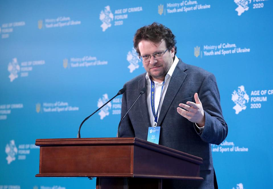 Visiting Senior Fellow at the Institute of Global Affairs at the London School of Economics Peter Pomerantsev delivers a speech at the NSC Olimpiyskiy, Kyiv, capital of Ukraine. (Hennadii Minchenko/ Ukrinform/Barcroft Media via Getty Images)