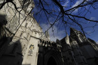 A view of The Royal Courts Of Justice, in London, Tuesday, Jan. 19, 2021. Meghan, the Duchess of Sussex will ask a High Court judge to rule in her favour in her privacy action against the Mail on Sunday over the publication of a handwritten letter to her estranged father. (AP Photo/Kirsty Wigglesworth)