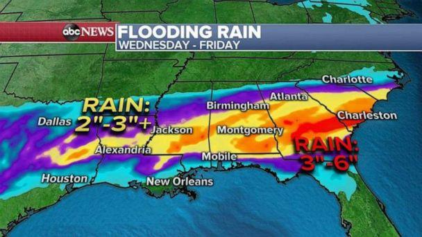 PHOTO: In addition to a tornado threat and damaging winds, there is flash flooding threat for the South from Louisiana to Georgia. (ABC News)