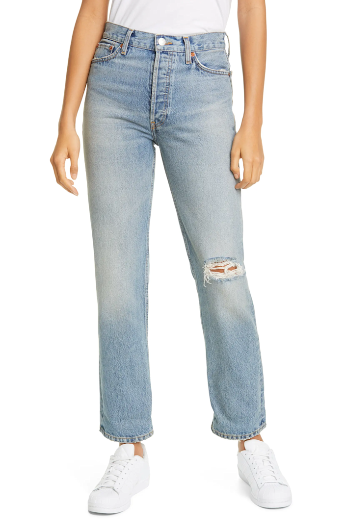 """<br> <br> <strong>RE/DONE</strong> 90s Style Ripped Loose Straight Leg Jeans, $, available at <a href=""""https://go.skimresources.com/?id=30283X879131&url=https%3A%2F%2Fwww.nordstrom.com%2Fs%2Fre-done-90s-ripped-loose-straight-leg-jeans-light-worn%2F5565655%3F"""" rel=""""nofollow noopener"""" target=""""_blank"""" data-ylk=""""slk:Nordstrom"""" class=""""link rapid-noclick-resp"""">Nordstrom</a>"""