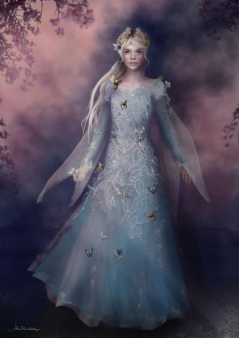 A sketch of Princess Aurora (Elle Fanning) in her fairy-made blue dress (Photo: Disney)