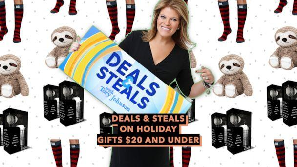PHOTO: Deals & Steals on holiday gifts $20 and under (ABC News Photo Illustration, Legacy Shave, Pudus Lifestyle co., Warmies)