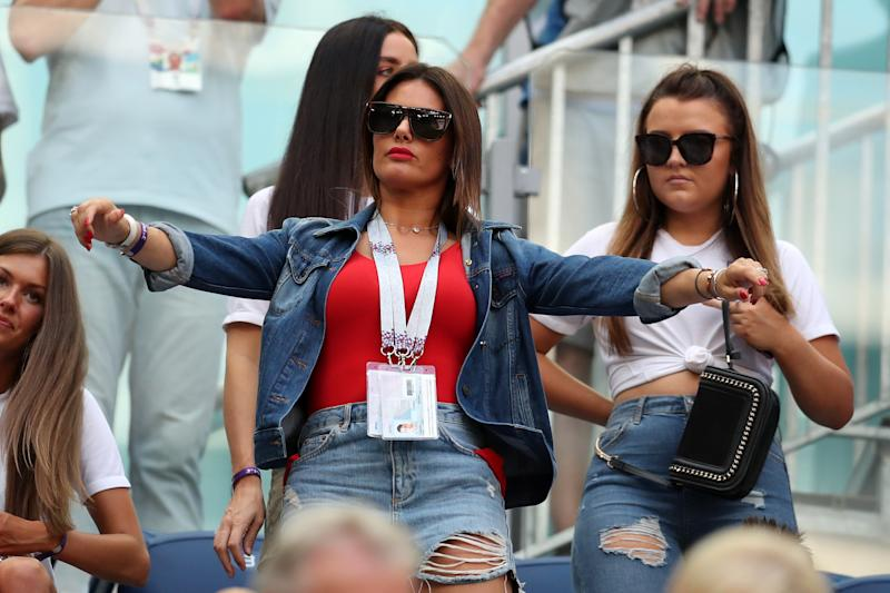 Jamie Vardy's wife Rebekah Vardy looks on prior to the 2018 FIFA World Cup Russia 3rd Place Playoff match between Belgium and England at Saint Petersburg Stadium on July 14, 2018 in Saint Petersburg, Russia. (Photo by Catherine Ivill/Getty Images)