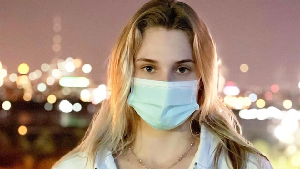 Pictured here, Dayana Yastremska is in Dubai wearing a face mask.