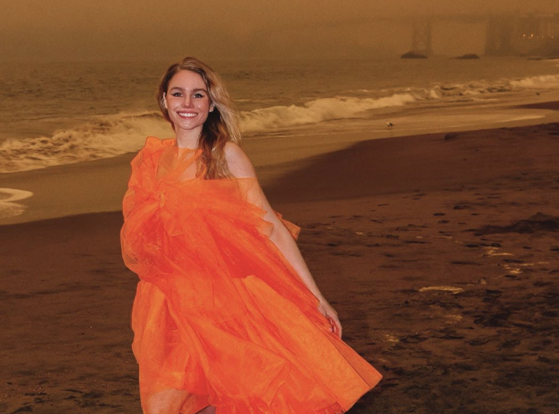 Influencer Colette LeClair poses in a tulle gown amid California fires. (Photo: Instagram)