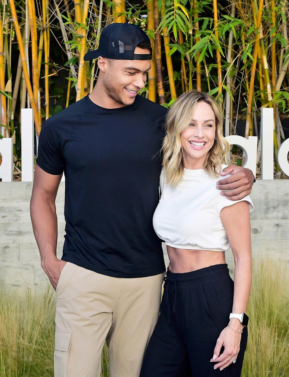 <p>Dale Moss and Clare Crawley pose together during Day 2 at Alo House in L.A. on June 23.</p>