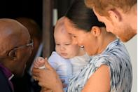 <p>Archie made his first public appearance on the royal tour of South Africa today, during Meghan and Harry's meeting with Archbishop Desmond Tutu.</p>