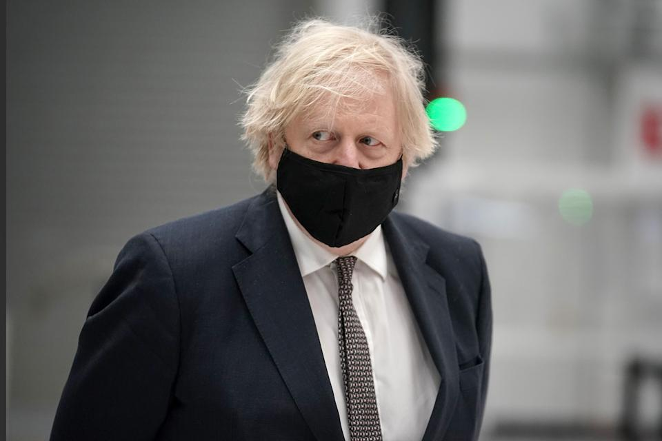 Prime Minister Boris Johnson during a visit to BAE Systems at Warton Aerodrome in Lancashire, to mark the publication of the Integrated Review and the Defence White Paper. Picture date: Monday March 22, 2021.