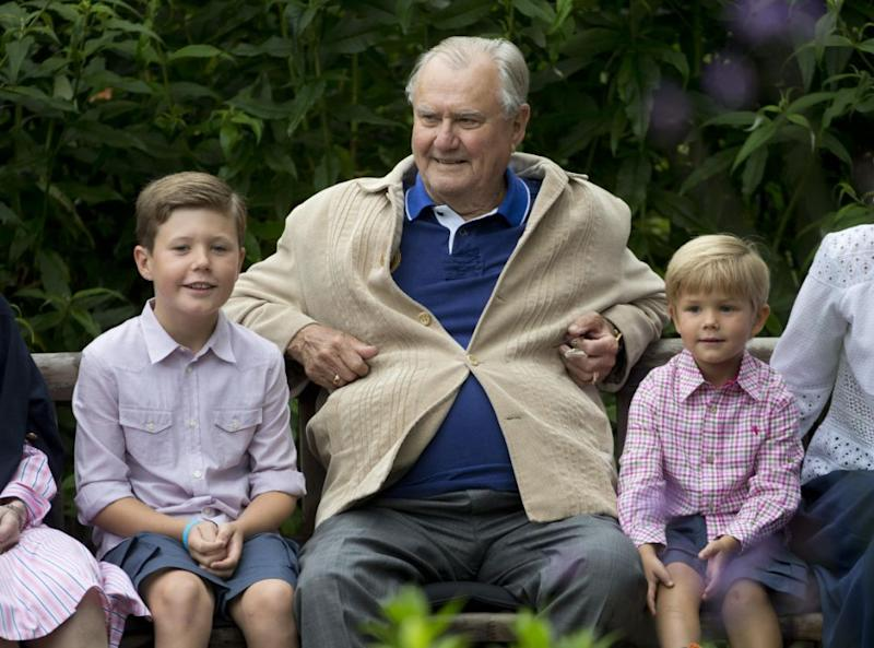 Prince Henrik is pictured with Prince Prince Vincent and Prince Christian. Photo: Getty Images