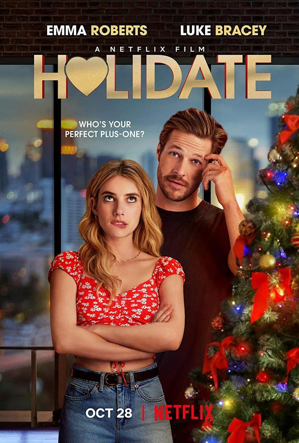 """<p>What's a list of holiday movies without at least one """"friends with judgy families who promise to just be each other's plus one but end up falling in love with each other"""" film? While it may seem like a tired trope, the scenes with Kristen Chenoweth alone make <em><a href=""""https://www.womenshealthmag.com/life/g34535115/movies-like-holidate/"""" rel=""""nofollow noopener"""" target=""""_blank"""" data-ylk=""""slk:Holidate"""" class=""""link rapid-noclick-resp"""">Holidate</a></em> worth a watch</p><p><a class=""""link rapid-noclick-resp"""" href=""""https://www.netflix.com/title/81034553"""" rel=""""nofollow noopener"""" target=""""_blank"""" data-ylk=""""slk:Watch Now"""">Watch Now</a></p>"""
