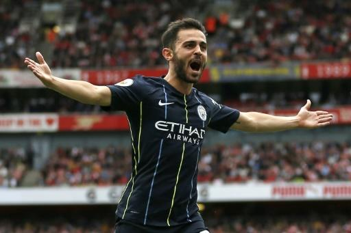 Start of champions: Bernardo Silva struck as Manchester City outclassed Arsenal 2-0 on Sunday