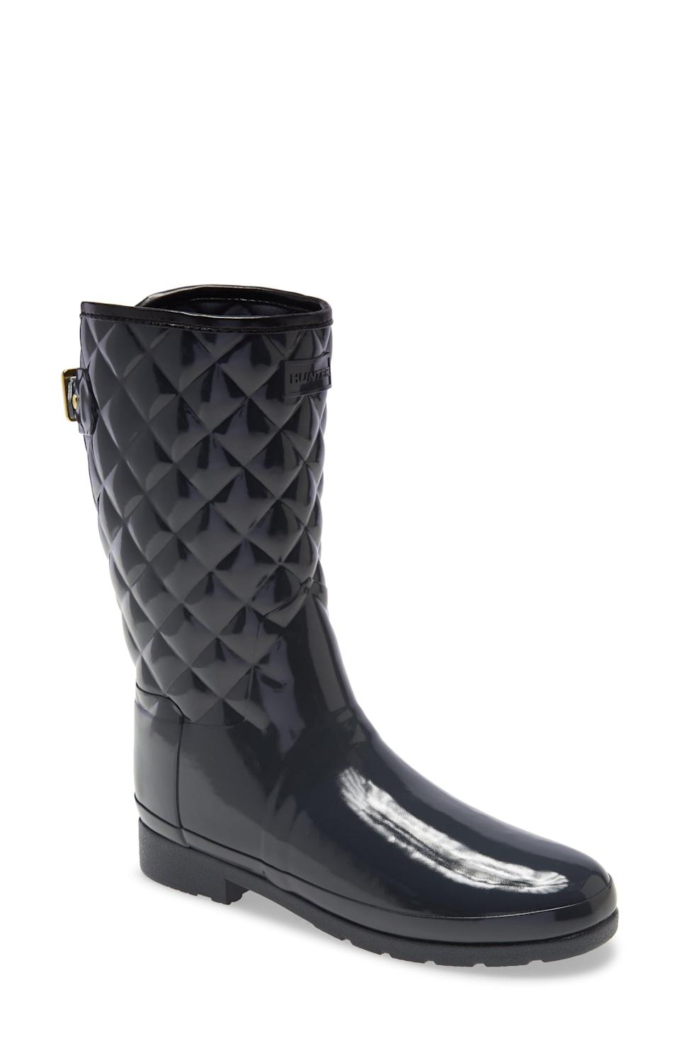 """<p><strong>HUNTER</strong></p><p>nordstrom.com</p><p><a href=""""https://go.redirectingat.com?id=74968X1596630&url=https%3A%2F%2Fwww.nordstrom.com%2Fs%2Fhunter-refined-high-gloss-quilted-short-waterproof-rain-boot-women%2F4710436&sref=https%3A%2F%2Fwww.townandcountrymag.com%2Fstyle%2Ffashion-trends%2Fg35967828%2Fnordstrom-spring-sale-2021%2F"""" rel=""""nofollow noopener"""" target=""""_blank"""" data-ylk=""""slk:Shop Now"""" class=""""link rapid-noclick-resp"""">Shop Now</a></p><p>$105</p><p><em>Original Price: $175</em></p>"""