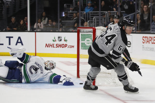 Los Angeles Kings' Matt Luff, right, skates past Vancouver Canucks goaltender Jacob Markstrom, of Sweden, after scoring a goal during the second period of an NHL hockey game Saturday, Nov. 24, 2018, in Los Angeles. (AP Photo/Jae C. Hong)
