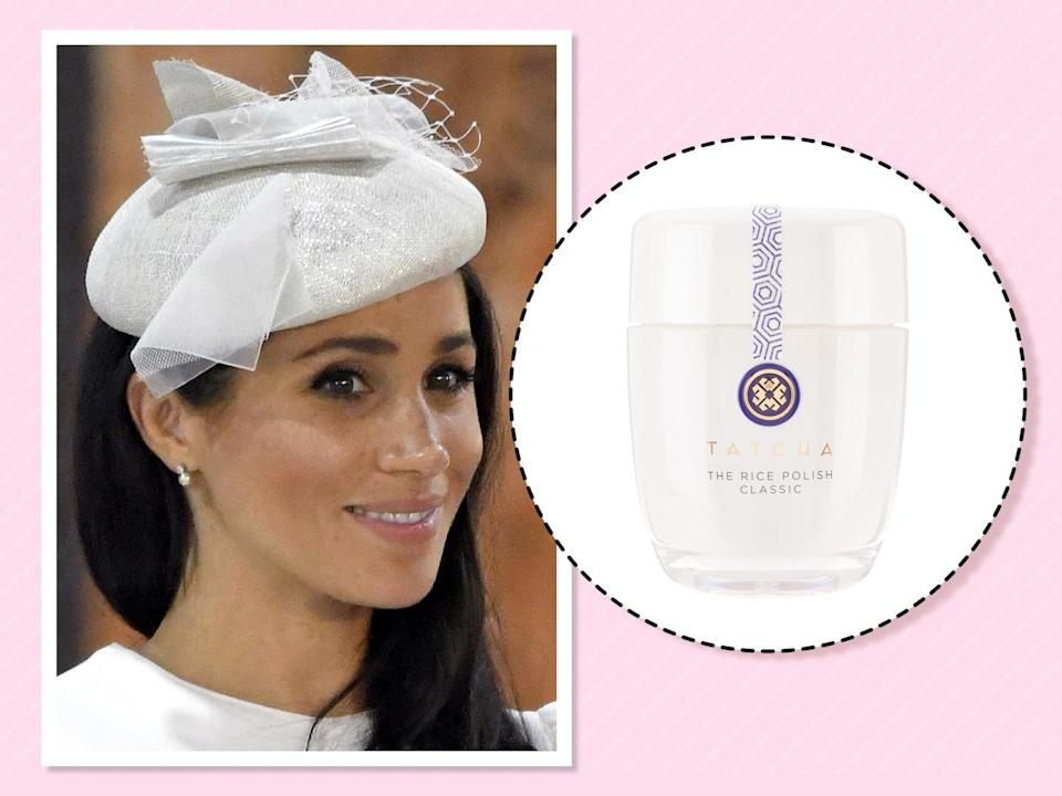 "<p>The duchess maintains her glowy complexion, or Markle Sparkle, by exfoliating with a gentle polish. ""I really love the Tatcha Rice Enzyme Powder. It just sort of foams on your face and gives you a really subtle exfoliation,""<a href=""https://www.allure.com/story/meghan-markle-suits-beauty-tips?verso=true"" rel=""nofollow noopener"" target=""_blank"" data-ylk=""slk:she told Allure"" class=""link rapid-noclick-resp""> she told <em>Allure</em></a>. (Photo: Getty Images)<br><strong><a href=""https://fave.co/2zLogOk"" rel=""nofollow noopener"" target=""_blank"" data-ylk=""slk:Shop it"" class=""link rapid-noclick-resp"">Shop it</a>:</strong> $65, <a href=""https://fave.co/2zLogOk"" rel=""nofollow noopener"" target=""_blank"" data-ylk=""slk:tatcha.com"" class=""link rapid-noclick-resp"">tatcha.com</a> </p>"