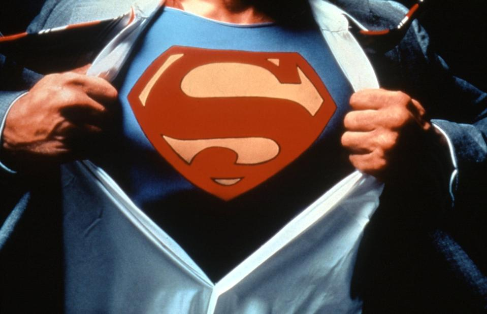 SUPERMAN, Christopher Reeve, 1978.  Warner Bros./ Courtesy: Everett Collection