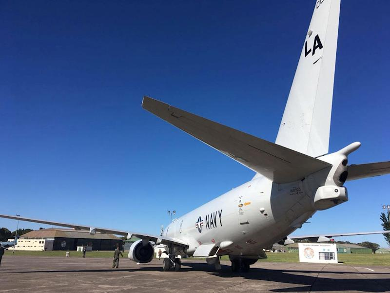 The US Navy's Boeing P-8A Poseidon seen before departing to take part in the search for the ARA San Juan: Reuters