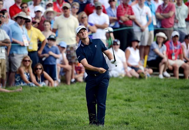 ARDMORE, PA - JUNE 15: Justin Rose of England hits an approach shot on the fourth hole during Round Three of the 113th U.S. Open at Merion Golf Club on June 15, 2013 in Ardmore, Pennsylvania. (Photo by David Cannon/Getty Images)