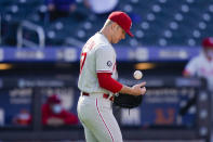 Philadelphia Phillies starting pitcher Chase Anderson reacts after New York Mets' Dominic Smith hit a two-run home run during the first inning of a baseball game in the first game of a doubleheader Tuesday, April 13, 2021, in New York. (AP Photo/Frank Franklin II)