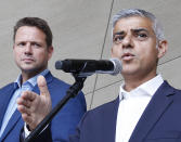 London Mayor Sadiq Khan speaks at a news conference alongside Warsaw Mayor Rafal Trzaskowski in Warsaw, Poland, on Sept. 2, 2019. Khan visited Poland to commemorate the 80th anniversary of the start of World War II in Gdansk on Sunday and has taken part in town halls in Gdansk and Warsaw. He expressed outrage over British Prime Minister Boris Johnson's decision to shut down parliament for several weeks ahead of Britain's pending departure from the European Union.(AP Photo/Czarek Sokolowski)