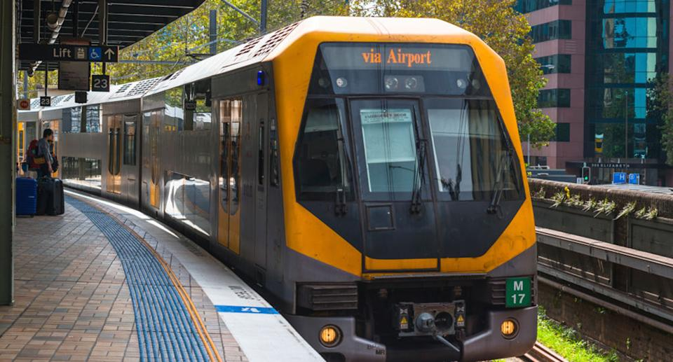 A train arrives at Central Station headed for the airport in Sydney.