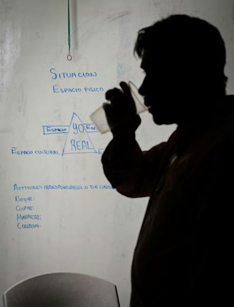 A participant at the support group to reflect on male chauvinism in Mexico
