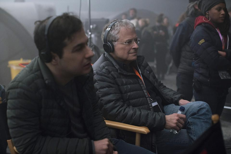 Jon Kasdan and Lawrence Kasdan on the set of SOLO: A STAR WARS STORY.