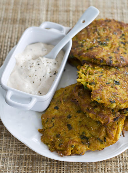 In this image taken on November 5, 2012, Southwestern latkes with chipotle yogurt are shown on a plate in Concord, N.H. (AP Photo/Matthew Mead)