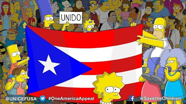 """The team behind """"The Simpsons"""" showed solidarity for Puerto Rico and reminded viewers that the U.S. territory still needs aid after Hurricane Maria pummeled the island nearly two weeks ago."""