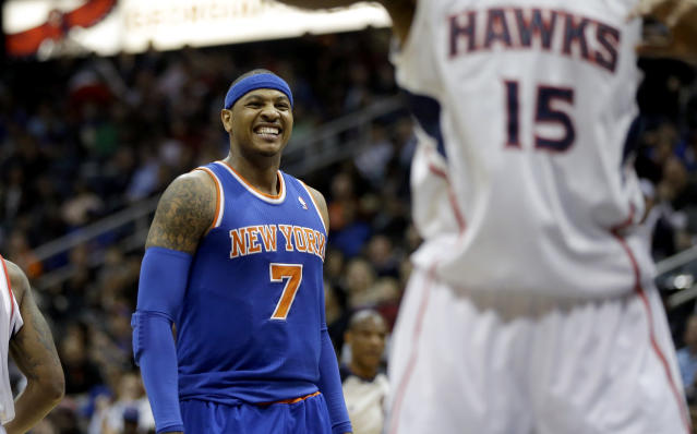 "<a class=""link rapid-noclick-resp"" href=""/nba/players/3706/"" data-ylk=""slk:Carmelo Anthony"">Carmelo Anthony</a> has seen that No. 15 <a class=""link rapid-noclick-resp"" href=""/nba/teams/atl"" data-ylk=""slk:Atlanta Hawks"">Atlanta Hawks</a> jersey somewhere before. (AP)"
