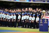 New Zealand's players line up for the national anthems. (Photo by Gareth Copley-IDI/IDI via Getty Images)