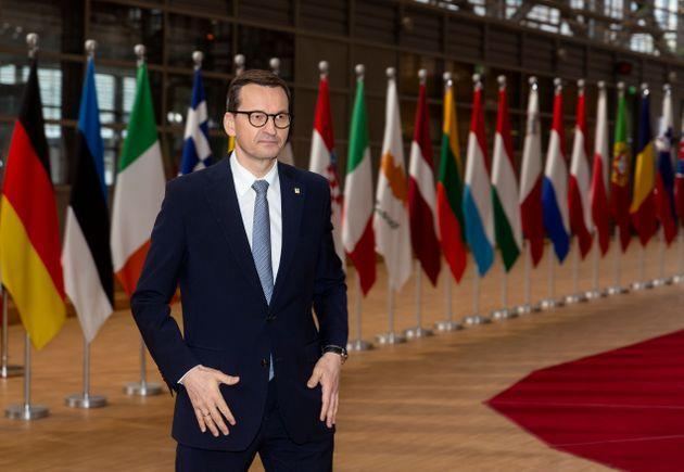 BRUSSELS, BELGIUM - MAY 24: Polish Prime Minister Mateusz Morawiecki talks to media as he arrives for an extraordinary EU Summit on May 24, 2021 in Brussels, Belgium. European Union leaders are expected, during a two days meeting, to focus on foreign relations, including Russia, Belarus and the United Kingdom. (Photo by Thierry Monasse#51SY ED/Getty Images) (Photo: Thierry Monasse via Getty Images)