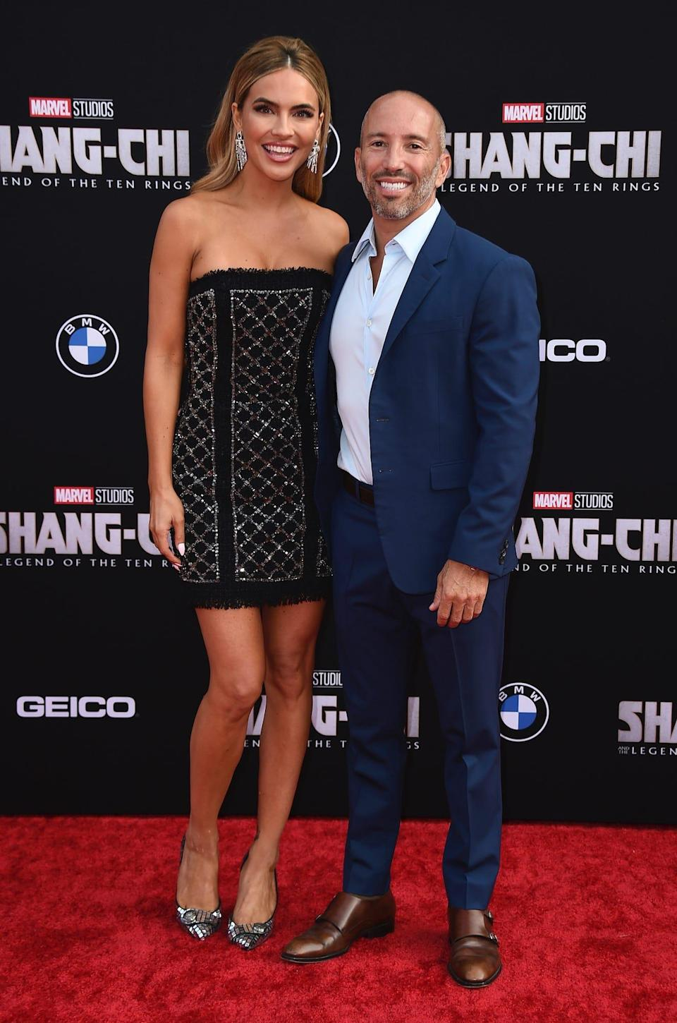 """Chrishell Stause and Jason Oppenheim at the """"Shang-Chi"""" premiere."""