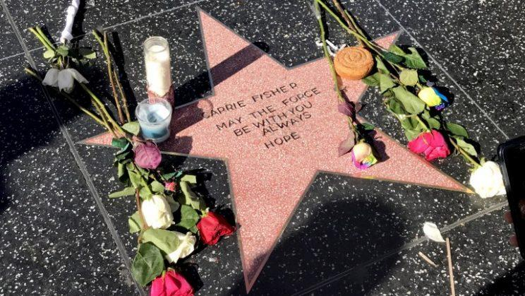 Carrie Fisher's fan-made star along Hollywood Boulevard (Photo: Ryan Parker/THR)
