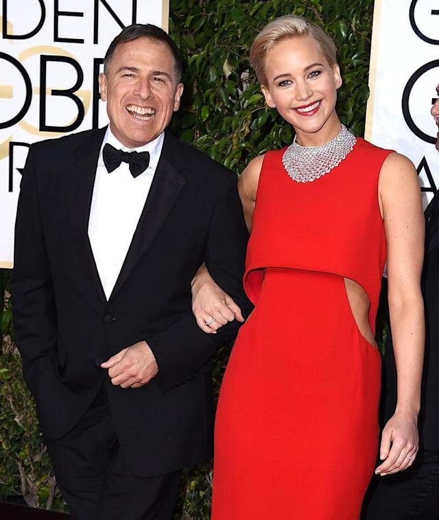 <p><i>Joy,</i> Lawrence's third film with David O. Russell,brings her top acting nominations at all the major award shows — including the Oscars. She and the director arrive together to the 2016 Golden Globes on Jan. 10. (Photo: Getty Images) </p>