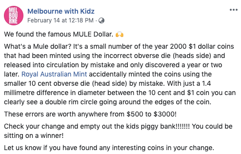 Pictured: Melbourne with Kidz Facebook post about Mule dollar.
