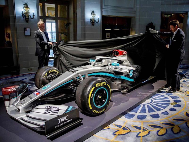 Ineos owner Jim Ratcliffe and Mercedes head Toto Wolff reveal the new car: Getty