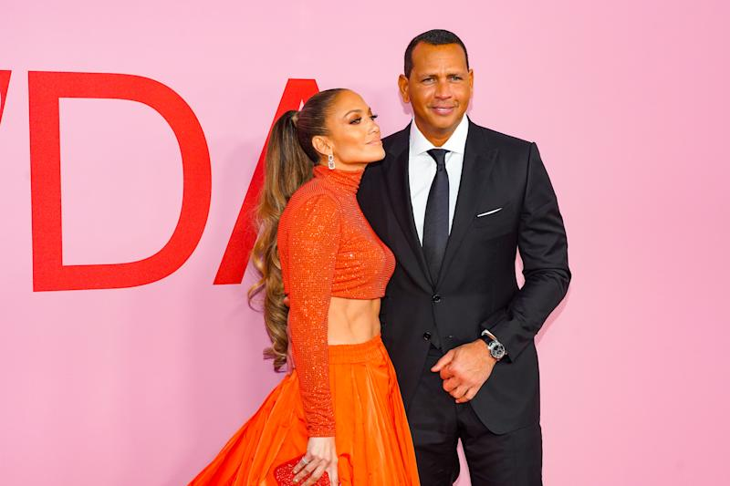 NEW YORK, NEW YORK - JUNE 03: Jennifer Lopez and Alex Rodriguez attend the 2019 CFDA Fashion Awards- Arrivals at Brooklyn Museum on June 03, 2019 in New York City. (Photo by Sean Zanni/Patrick McMullan via Getty Imagess)