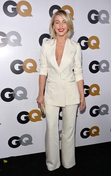 """Julianne Hough: The """"Rock of Ages"""" actress channels Angelina Jolie's white Dolce & Gabbana Oscars suit but with not much success. The pants are too baggy, making her leggs look shapeless and the blazer hits her torso too low. (Photo by Alberto E. Rodriguez/Getty Images)"""