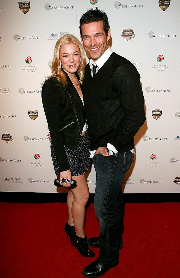 "Controversial couple LeAnn Rimes and Eddie Cibrian stepped out in basic black at the official party of the BCS National Championship Game in Pasadena, California. Jesse Grant/ <a href=""http://www.gettyimages.com/"" target=""new"">GettyImages.com</a> - January 6, 2010"